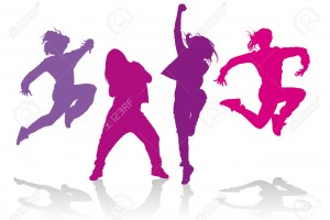 Silhouettes of girls dancing hip hop dance