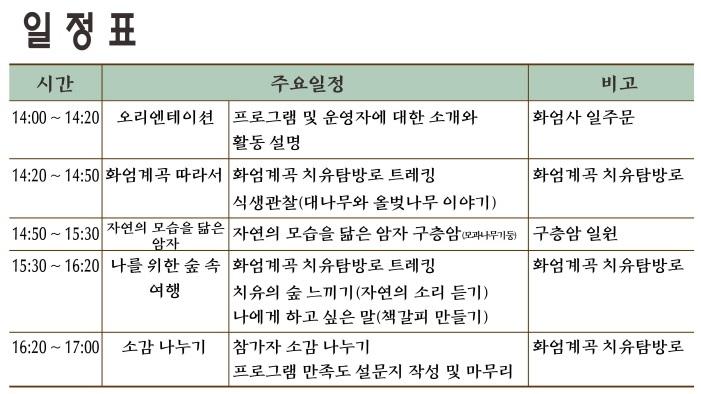 [전남] 나를 위해 떠나는 지리산 숲속 여행 일정표